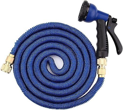 Manguera de jardín flexible, Uten manguera de agua retráctil con una pistola rociadora y 8 tipos de chorro para jardín, patio, etc (75 FT, azul): Amazon.es: Jardín