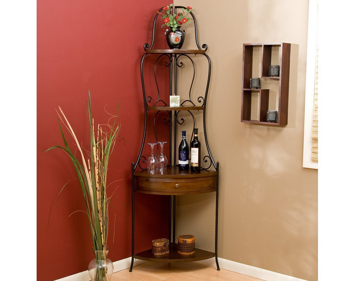 Wrought Iron Corner Bakers Rack with Wood Shelves, Heritage Oak Finish by Belham Living