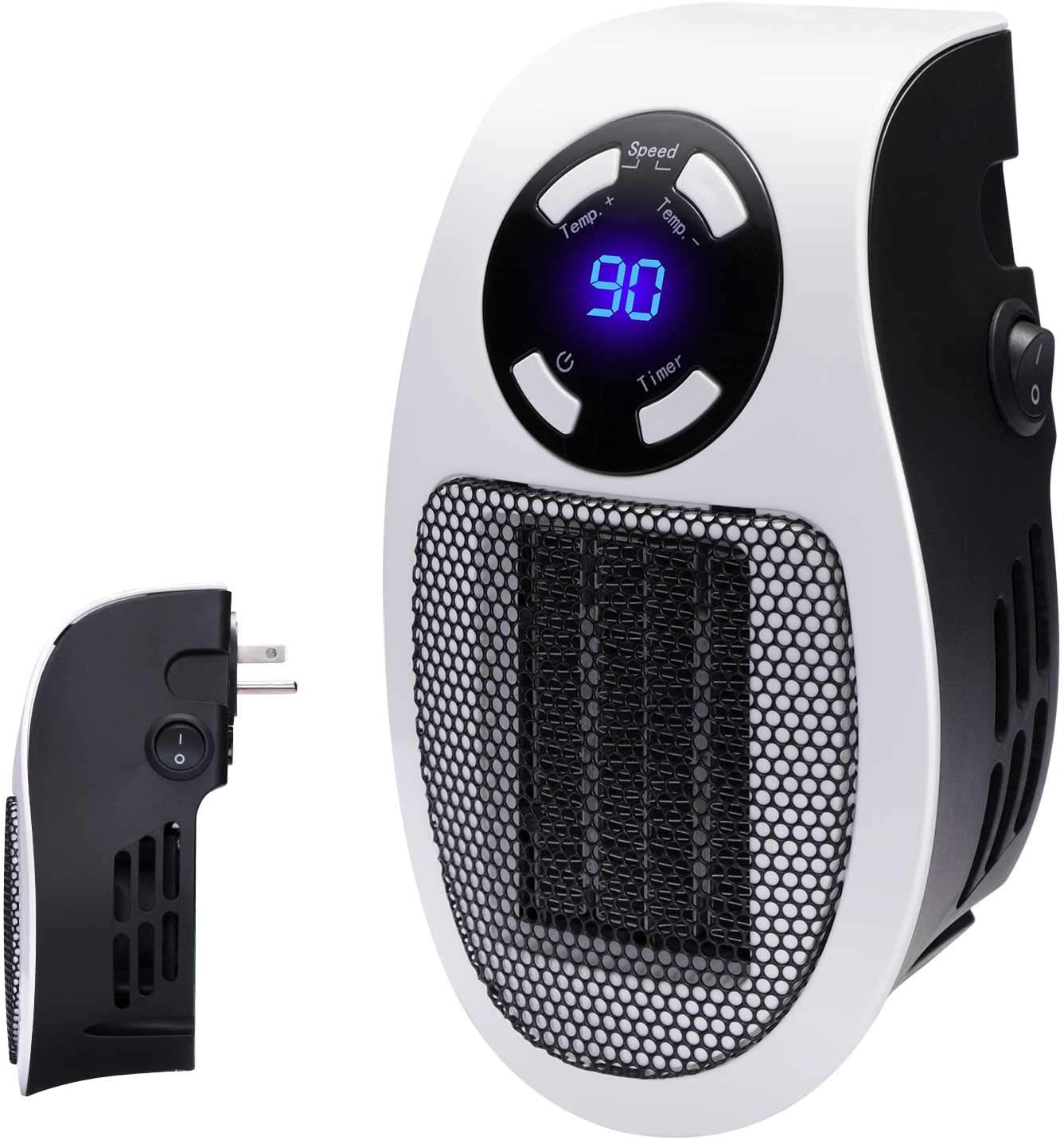 Programmable Space Heater with LED Display: Wall-Outlet Electric Heater with Adjustable Thermostat & Timer for Home Office Indoor Use | 350-Watt ETL Listed