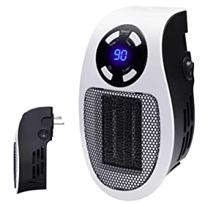 Brightown Handy Wall-Outlet Space Heater, Plug-in Ceramic Mini Heater Portable with Timer and LED Display for Office Home Dorm Room, 350-Watt ETL Listed for Safe Use