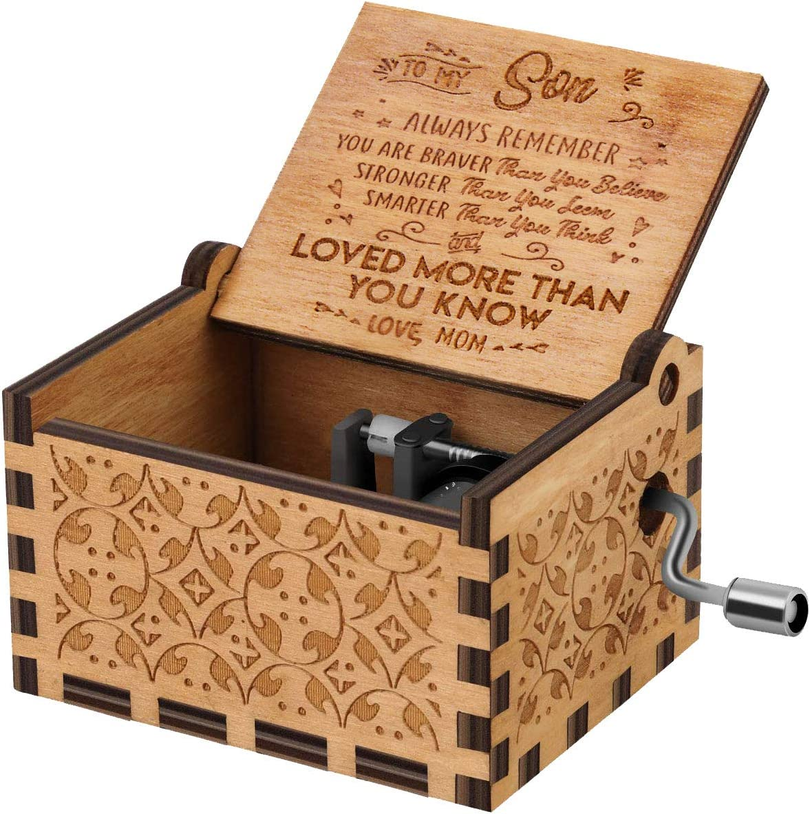 U R My Sunshine Music Box Hand crank Wood Laser Engraved Vintage Musical box Gifts to son from Mom on Birthday Thanksgiving days Christmas(You are braver than)