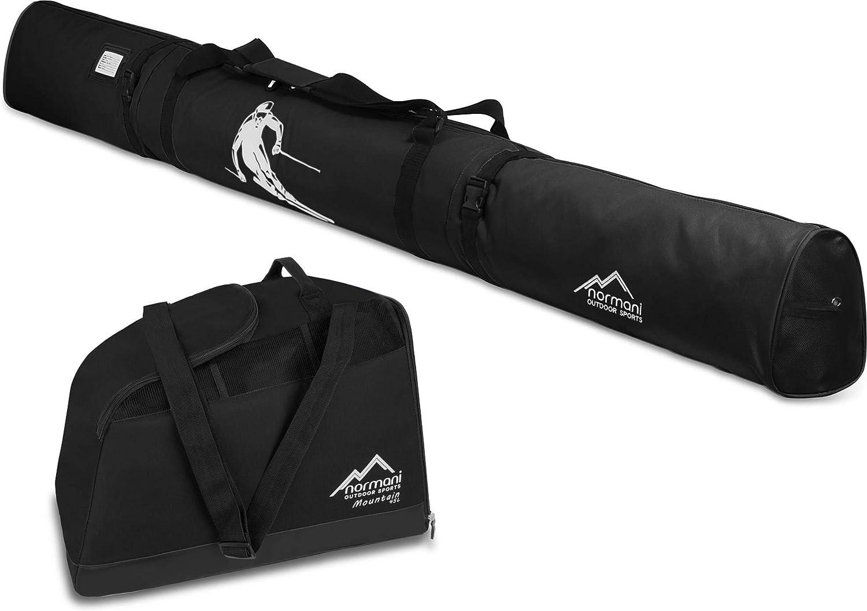 normani Skiset Kombi-Set Skisack 170 cm und 200 cm und Skischuhtasche für 1 Paar Ski + Stöcke + Schuhe + Helm + Accessoires