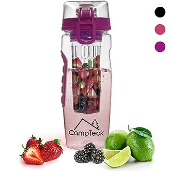 CampTeck 1 Litro 1000 ml Frutas Botella Agua Infusor (Plástico Tritan Sin BPA) Esencia