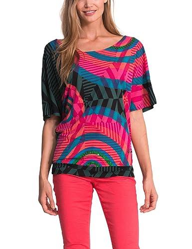 Desigual TS_Venice, T-Shirt da Donna, Manica Corta, Collo a Barchetta