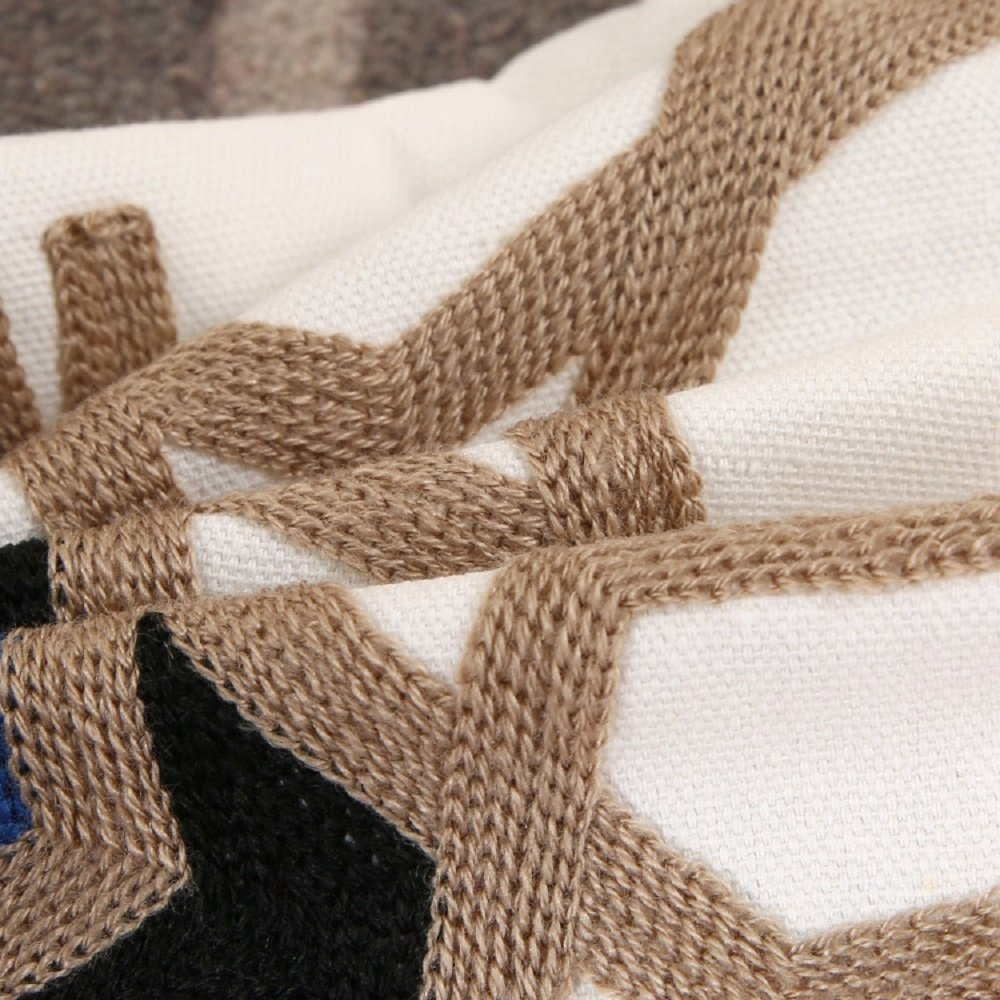 Scarvesnthangs Set of 2 Blue Beige Black and Beige Decorative Sofa Throw Embroidered Pillow Covers For Home Decoration Hidden Zipper Design