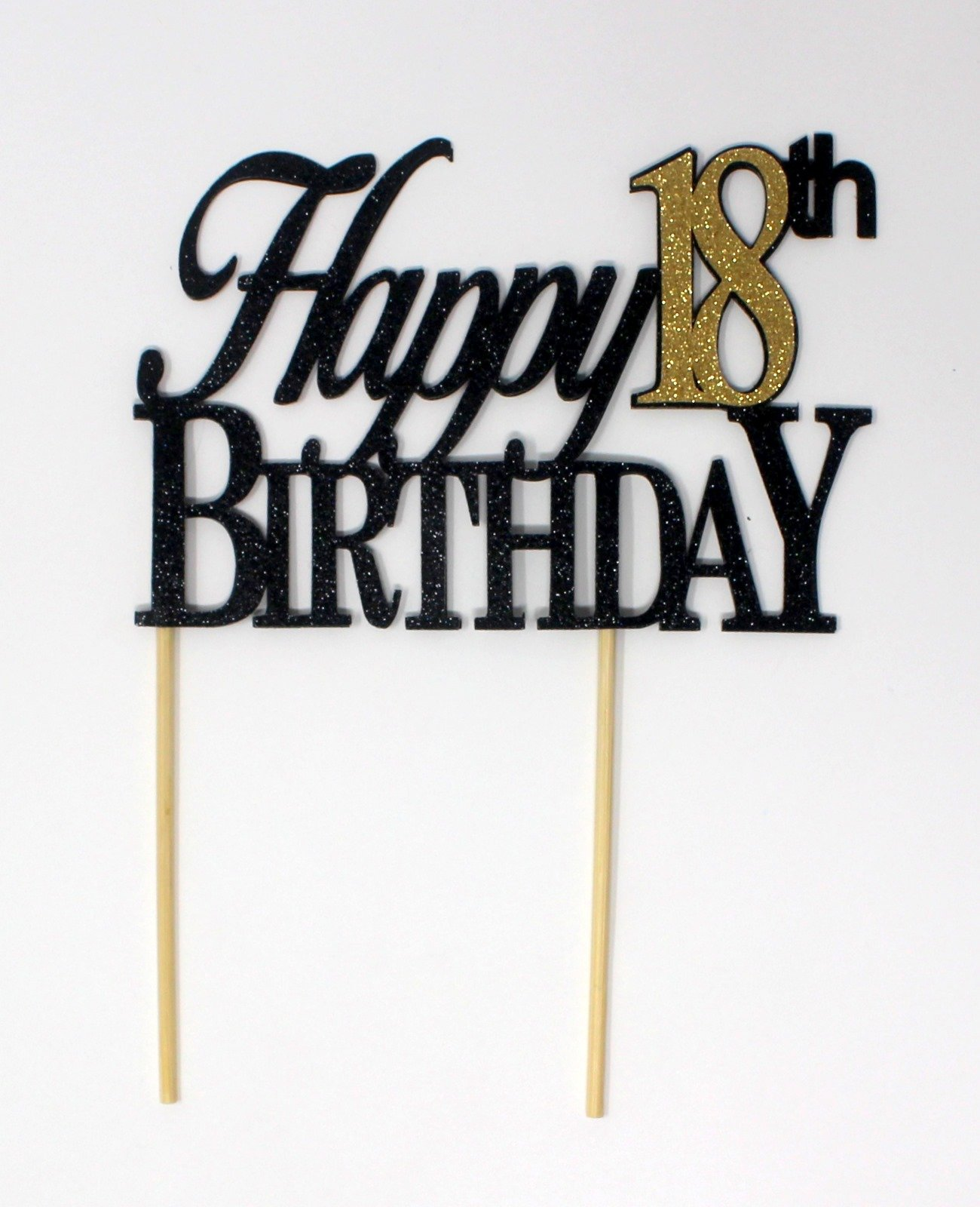 All About Details CATH18BBGO Happy, 1pc, 18th Birthday, Cake, Party Decor, Glitter Topper (Black & Gold), 4in Tall (Plus 2pcs of 4-in Wood skewers) & 6-in Wide by All About Details (Image #1)