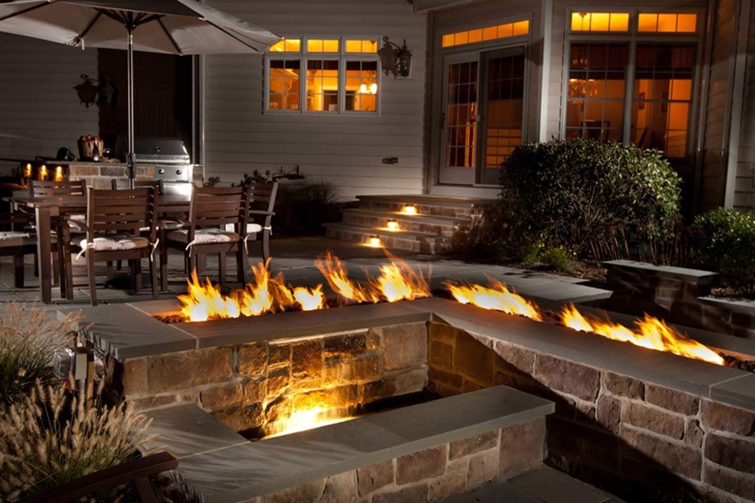 Hearth Products Controls (HPC) Stainless Steel Fire Pit Trough Pan with Linear Burner (60SSTRGH-NG), 60-Inch, Natural Gas