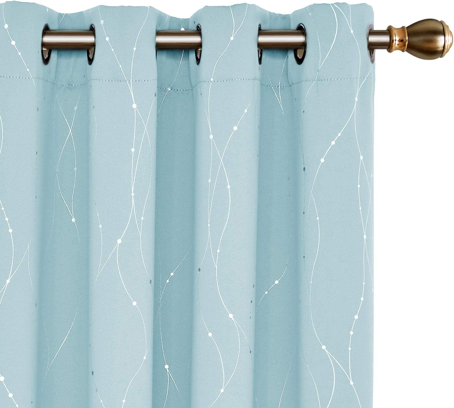 Deconovo Sky Blue Blackout Grommet Curtains Pair Thermal Insulated Window Curtains with Wave Line Dots Printed Pattern for Kids Room 52 x 95 Inch Sky Blue 2 Panels