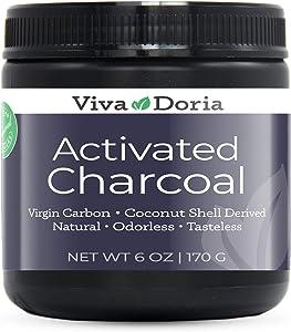 Viva Doria Virgin Activated Charcoal Powder, Coconut Shell Derived, Food Grade, 6 Oz