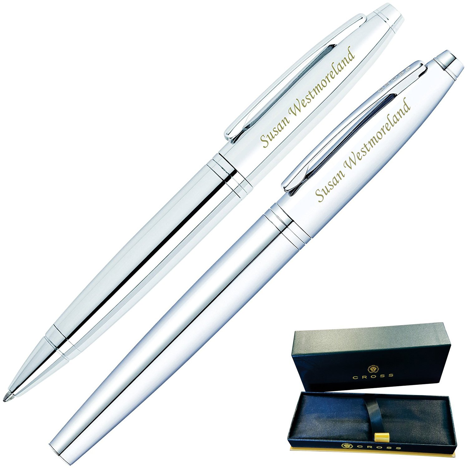 Dayspring Pens | Engraved/Personalized Cross Calais Ballpoint and Rollerball Double Pen Gift Set with Case - Chrome