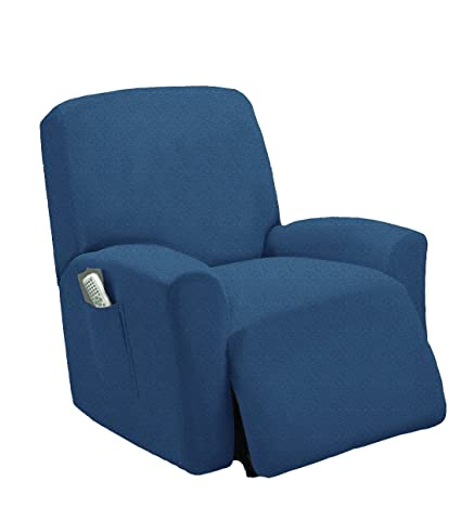 Cool One Piece Stretch Recliner Chair Furniture Slipcovers With Remote Pocket Fit Most Recliner Chairs Blue Creativecarmelina Interior Chair Design Creativecarmelinacom