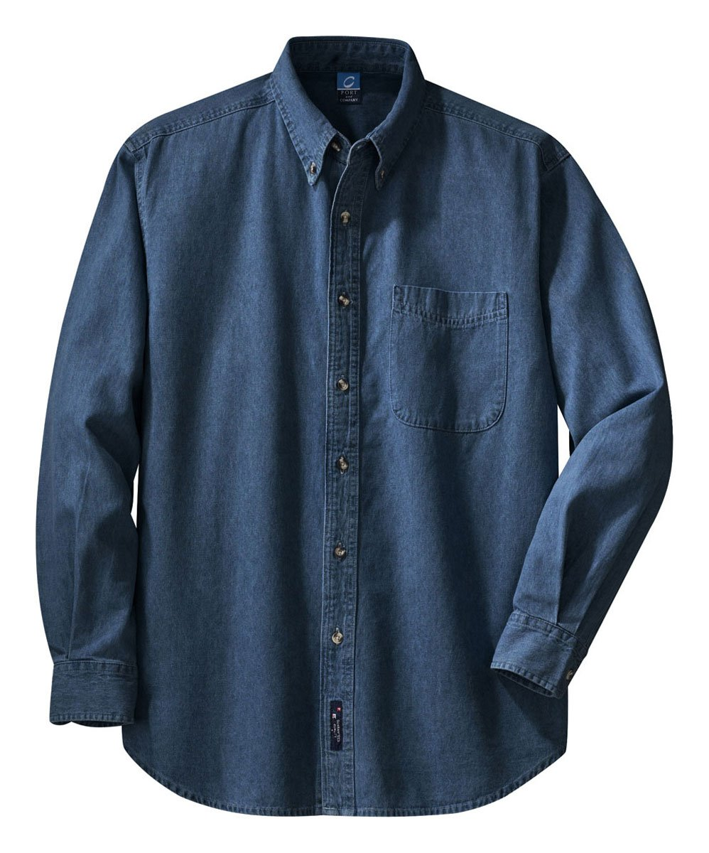 Port & Company Long Sleeve Denim Shirt, Ink Blue 2XL