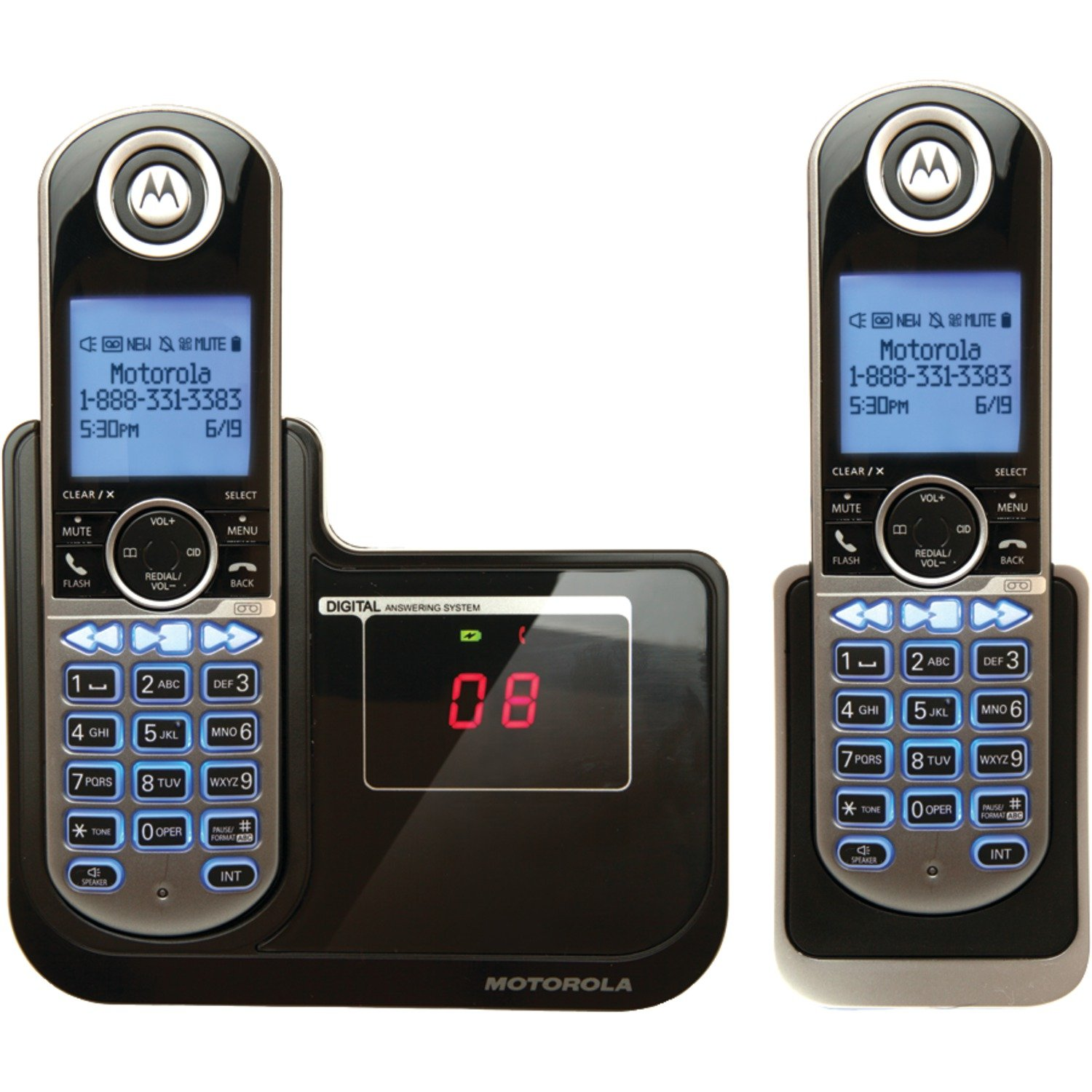 Motorola P1002 DECT 6.0 Cordless Phone with 2 Handsets, Digital Answering System and Customizable Color Back Plates Motorola CA