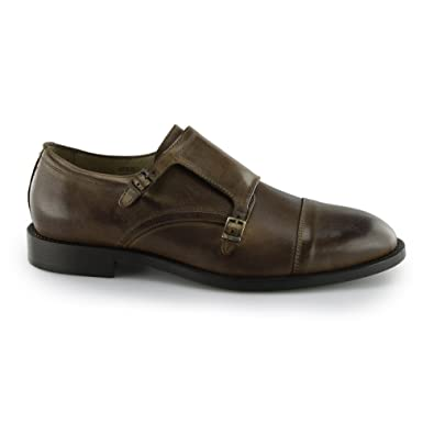 Leather Double Monk Shoes - Cognac Selected JuKnhdsMeT