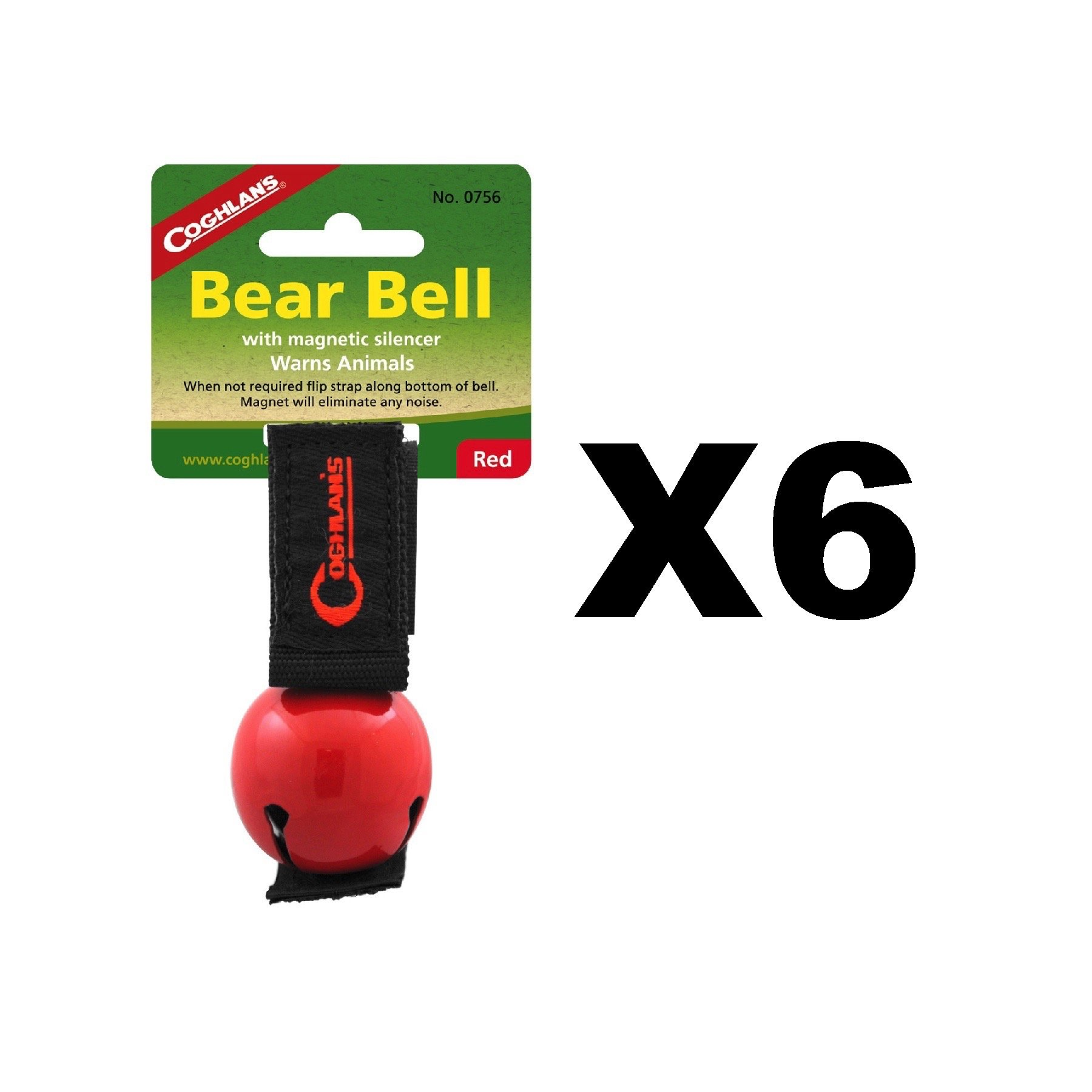 Coghlan's Bear Bell Red w/Magnetic Silencer & Loop Strap Warns Animals (6-Pack)