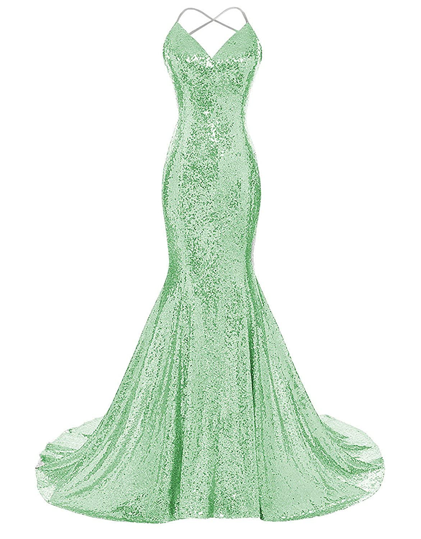 Light Green Monalia Women's 2018 Formal Evening Dresses Sequined Mermaid Prom Gowns EV4