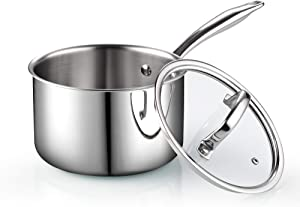 Cook N Home 02680 Tri-Ply Clad Stainless Steel Sauce Pan with Lid, 3 Quart, Silver