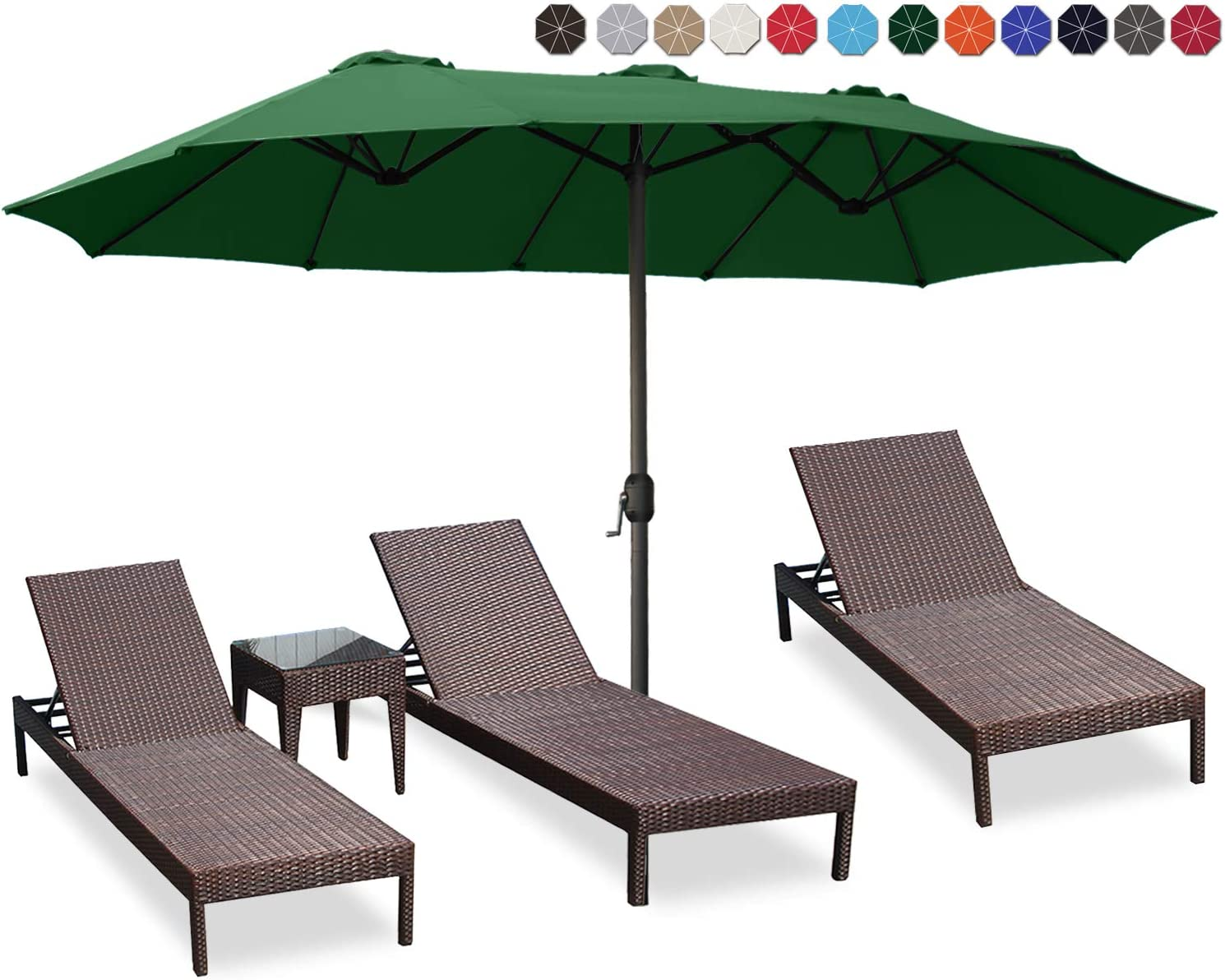 ABCCANOPY 15FT Double-Sided Aluminum Table Patio Umbrella Garden Large Umbrella,Swimming Pool 12+Colors,Forest Green