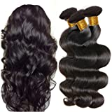 JINREN Brazilian Virgin Hair Body Wave Hair Weave 3 Bundles Full Head Set Unprocessed Virgin Human Hair Weave Natural Black 10-28inch