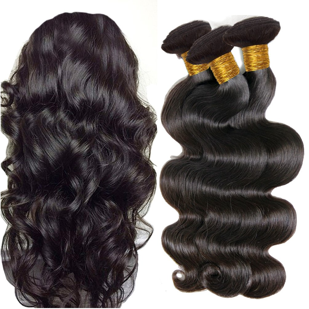 JINREN Brazilian Virgin Hair Body Wave Hair Weave 3 Bundles Full Head Set Unprocessed Virgin Human Hair Weave Natural Black 10-28inch (16inch 18inch 20inch)