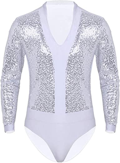 iiniim Maillots de Danza para Hombre Body Lentejuelas de Baile Danza Fiesta Leotardo Gimnasia Manga Larga Camisa Camiseta Disfraz de Ballet Actuacion: Amazon.es: Ropa y accesorios
