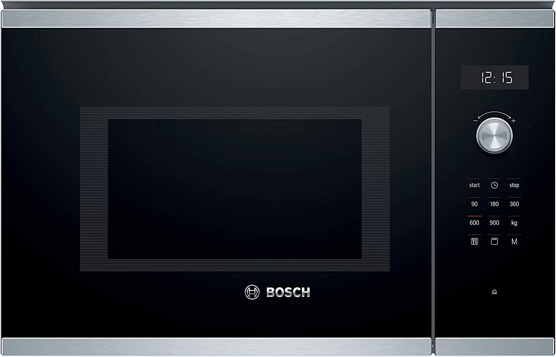 Bosch BEL554MS0 - Microondas integrable Serie 6, 25L, 900W, 1200W, Color negro con acero inoxidable