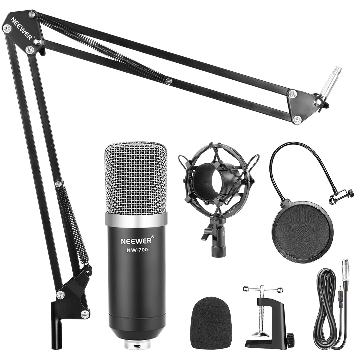 Neewer NW-700 Professional Studio Broadcasting Recording Condenser Microphone & NW-35 Adjustable Recording Microphone Suspension Scissor Arm Stand with Shock Mount and Mounting Clamp Kit by Neewer (Image #2)