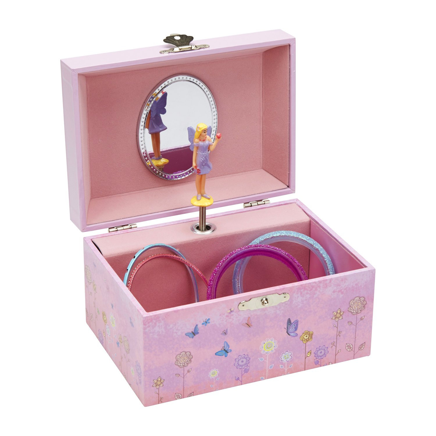 JewelKeeper Girl's Musical Jewelry Storage Box with Twirling Fairy, Flower Design, Dance of the Sugar Plum Fairy Tune