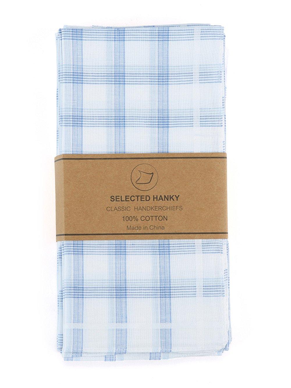 Selected Hanky 100% Cotton Men's Handkerchiefs/Hankies Colored Pack of 12 HKYM006LBCS12P