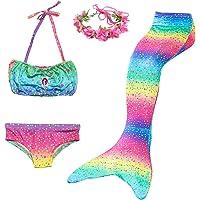 Cola de Sirena Niña 4pcs Traje de Baño Mermaid Bikini Establece Disfraz de Sirena para Niña Princesa Cosplay Conjuntos…