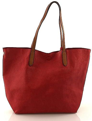 64aaae75d914a Dudlin Damen Handtaschen gross Schultertasche Umhängetasche Shopper Bag XXL  Schwarz Cognac Rot Beige Damentasche Basic Tasche