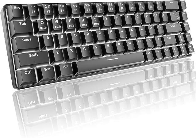 Teclado mecánico 60% para juegos, Bluetooth/2.4GHz inalámbrico USB/cable tipo C 3 modos de conexión,68 teclas interruptor azul mini teclado,16 efectos ...