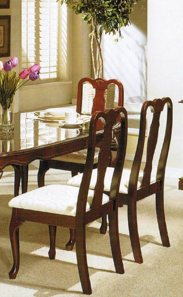 Amazon com   Set of 2 Dining Chairs   Queen Anne Style Cherry Finish    ChairsAmazon com   Set of 2 Dining Chairs   Queen Anne Style Cherry  . Queen Anne Dining Room Set. Home Design Ideas