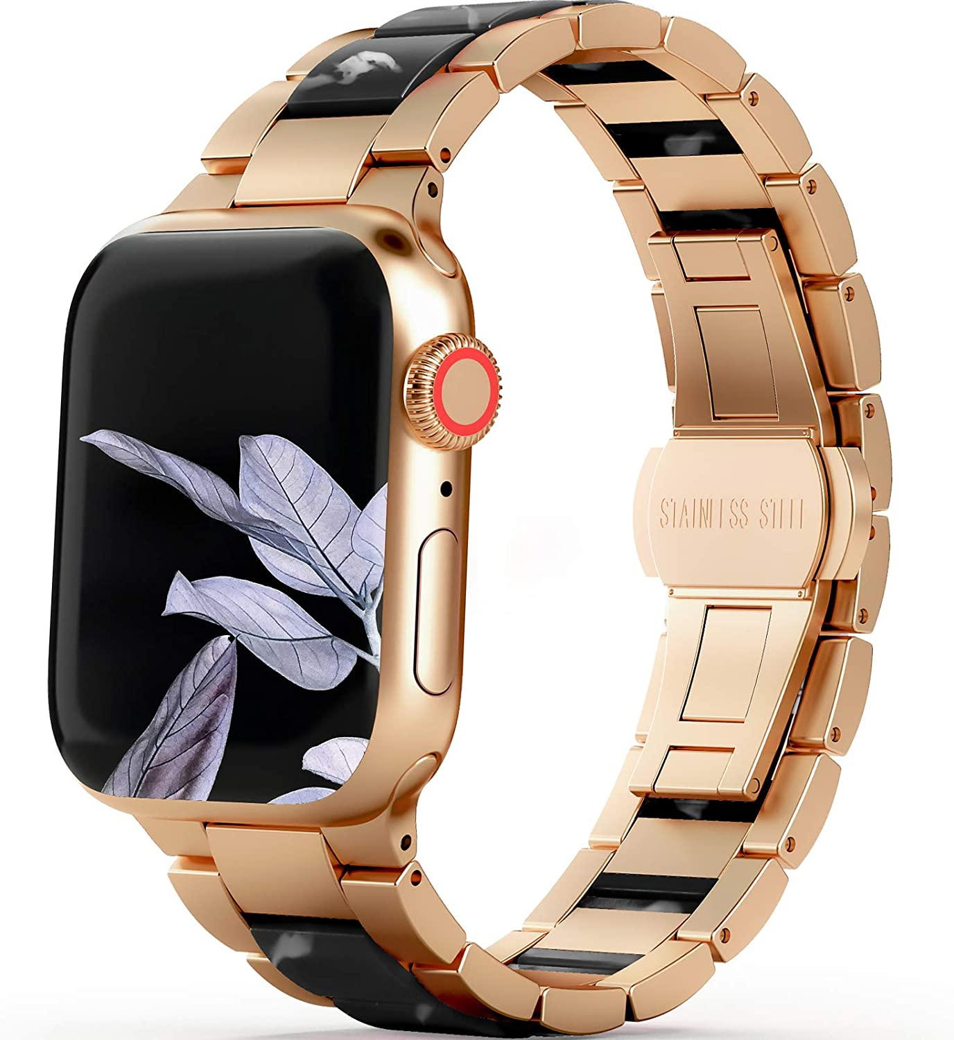 WILNARA Resin Band Compatible Apple Watch Bands 38mm 40mm 42mm 44mm for Women Men, Luxury Rose Gold Stainless Steel Metal and Vibrant Resin Wristbands Strap Bracelet for iWatch Series 6 5 4 3 2 1 SE