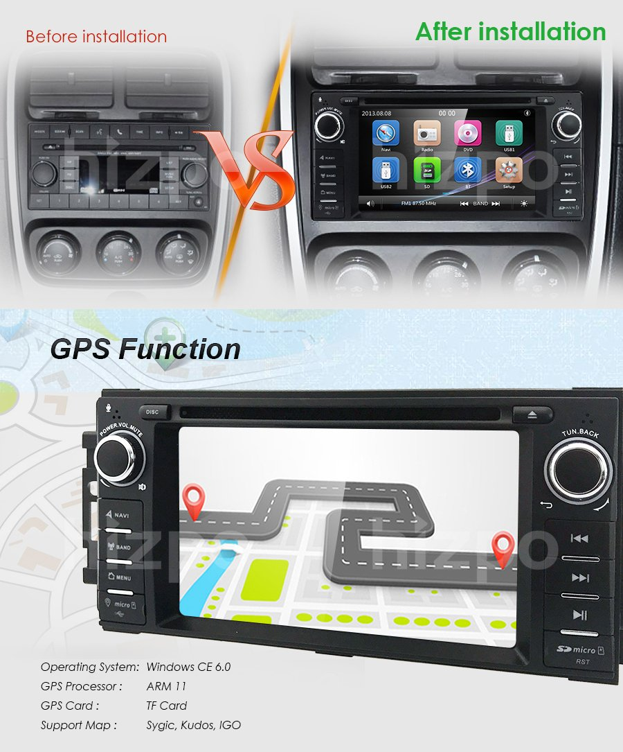 Hizpo Car Stereo GPS DVD Player for Dodge Ram Challenger Jeep Wrangler JK  Head Unit Single Din 6 2'' Touch Screen Indash Radio Receiver with