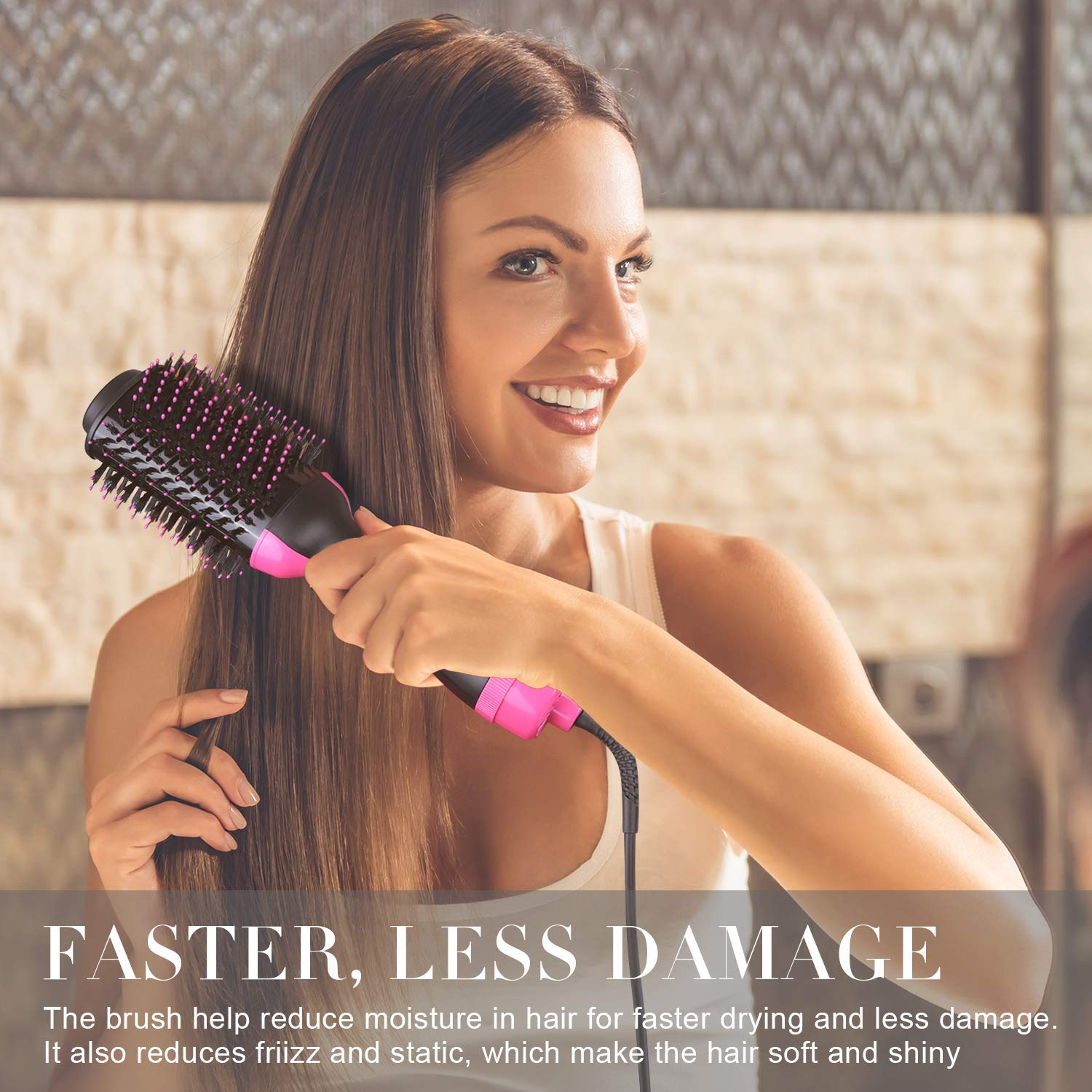One-Step Hair Dryer Volumizer,Hair Dryer Brush 2-in-1 Multi-functional Negative Ion Hair Straightener Curler Brush Reduce Frizz and Static for All Hair Types, 4pcs Hair Clips