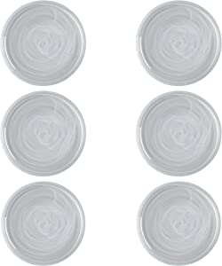 Maxwell & Williams Marblesque White Dinner Plates / Dinner Plate Set with Alabaster Swirl Effect, Handmade Glass, 26 cm, Set of 6