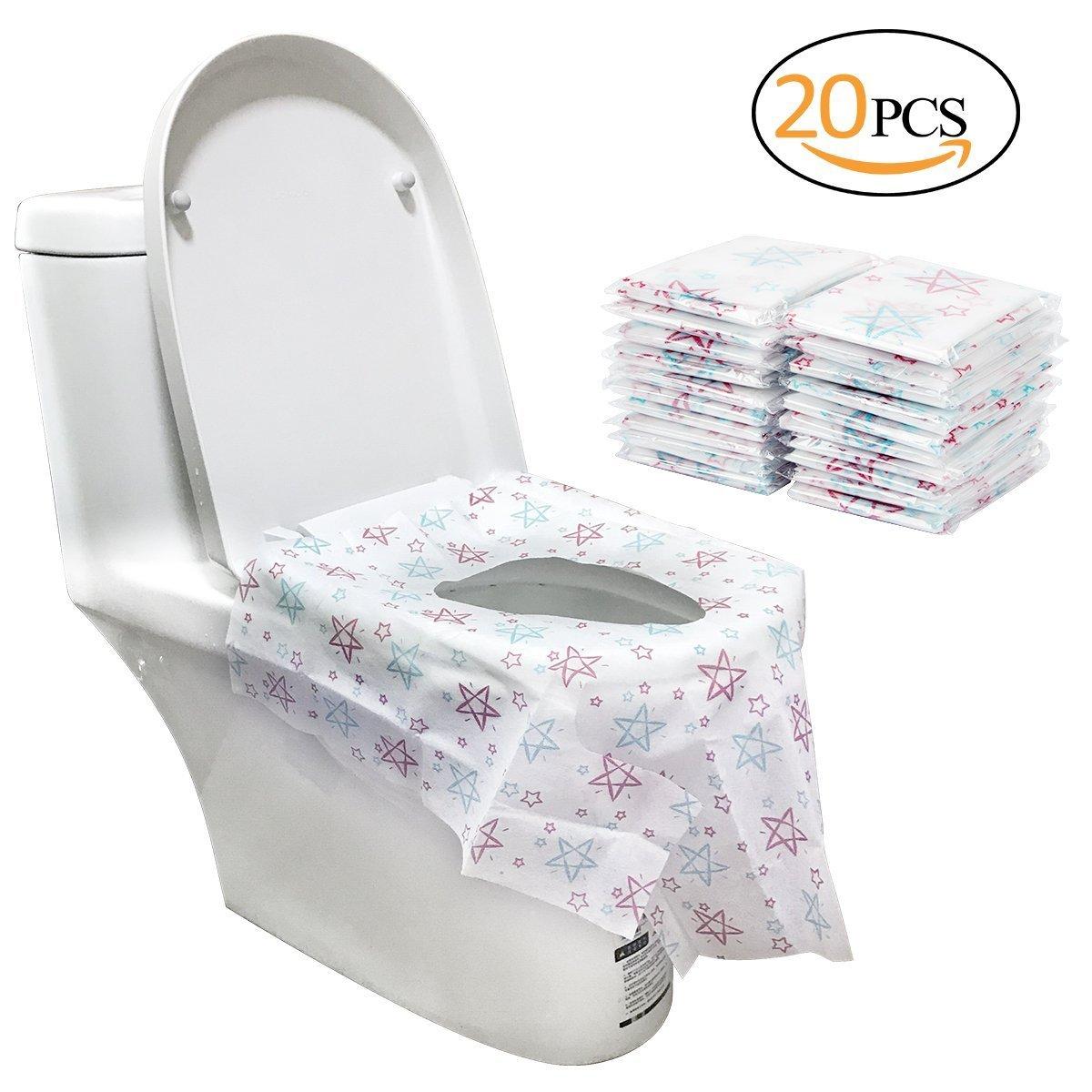 Biubee Lot de 20jetables Pot Housse de siège–Grande taille de voyage Housse pour abattant de WC avec adhésif No Slip (étoile)