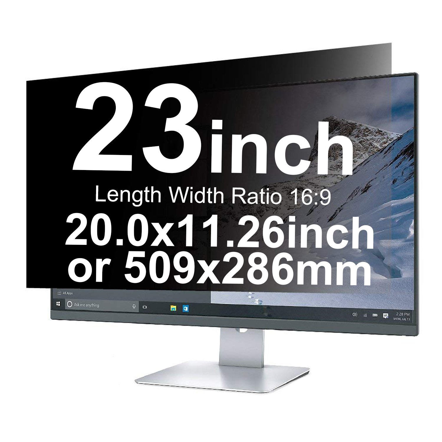 Xianan 23 inch Anti-Glare Anti-Peeping Privacy Filters 20x11.26inch/509x286mm 16:9 Display Filter Radiation Protection Computer Screen Protector Film