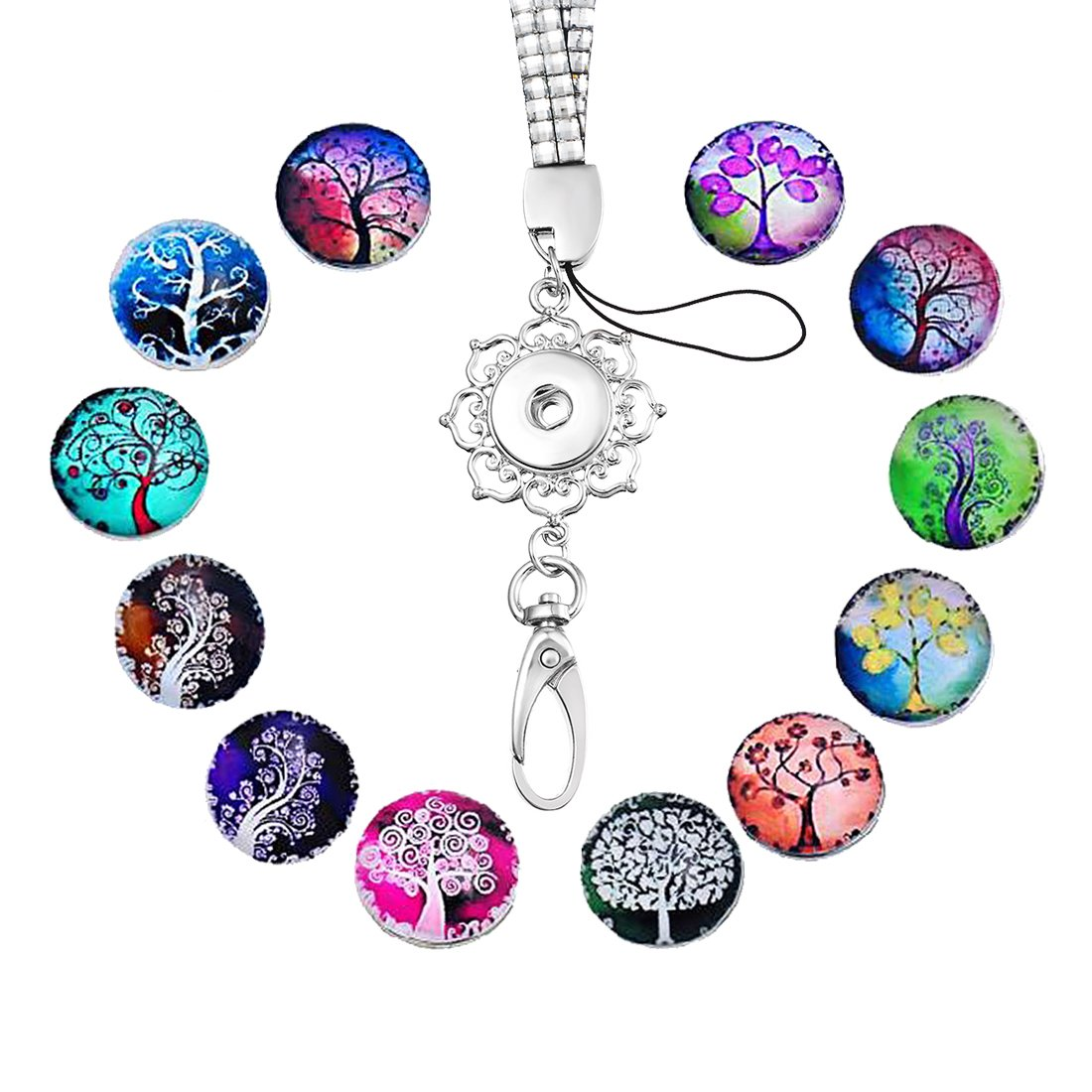 Souarts Silver Color Office Lanyard ID Badges Holder Necklace with 12pcs Life Tree Snap Buttons 72cm