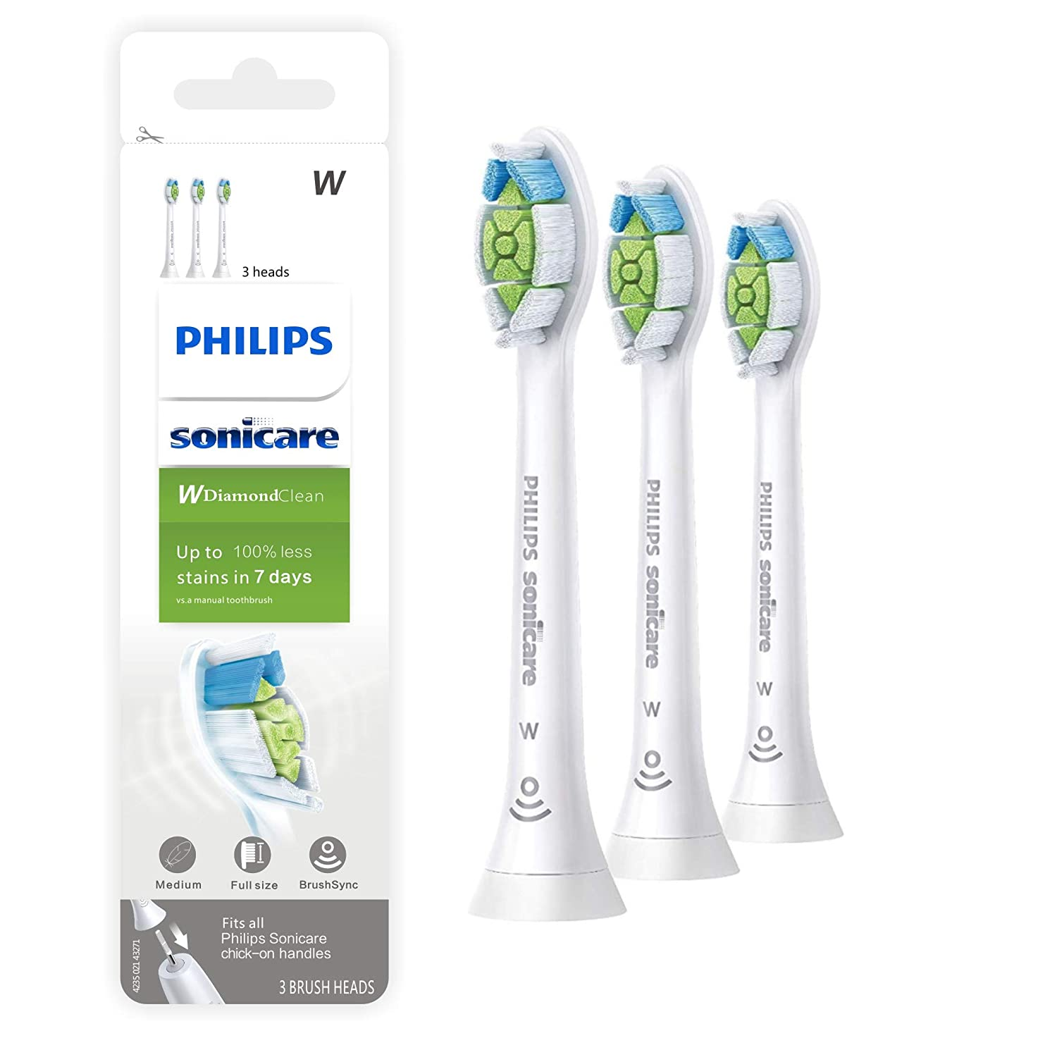 Replacement Toothbrush Heads for Philips Sonicare,Compatible with DiamondClean,ProtectiveClean,FlexCare,Healthy White,2 Series,Platinum,EasyClean,HX6063/65,White,3 Pack
