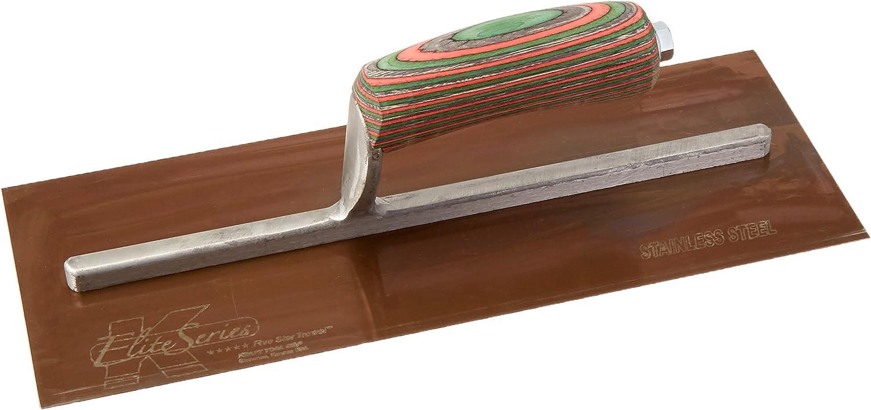 11-1//2 x 4-3//4-Inch Kraft Tool PLE457 Elite Series Five Star Golden Stainless Steel Plaster Trowel with Wood Handle