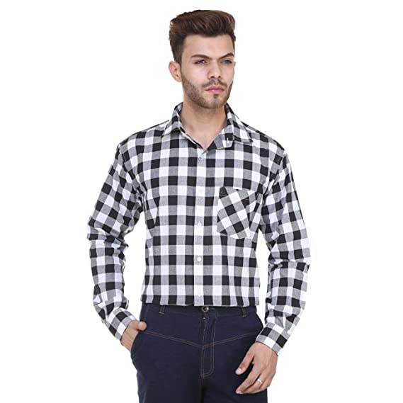 85a707487 black white check shirt  Amazon.in  Clothing   Accessories