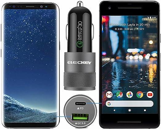 Eleckey ASIA255 Rapid USB PD Car Charger for Google Pixel 3 XL//2 XL Motorola Moto X4//Z2 Play//Force LG G7//G6//V30//V20