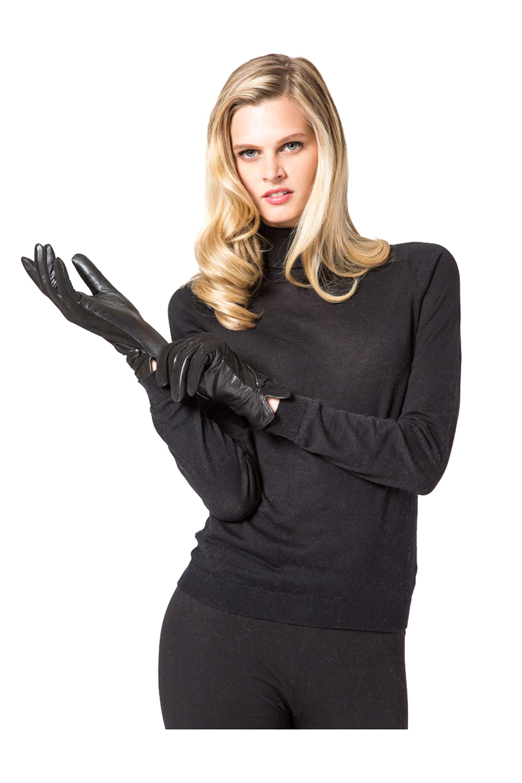 LEATHER GLOVES WITH PURE CASHMERE LINING (MEDIUM, BLACK)