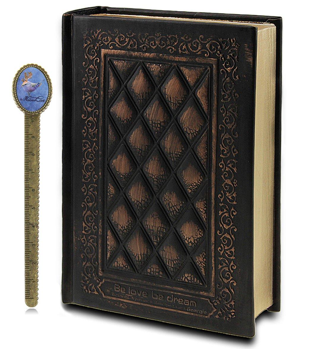 Liying® - Taccuino con copertina in pelle, per diario personale, diario di viaggio, schizzi, colore: bronzo Misura unica nero Georgie