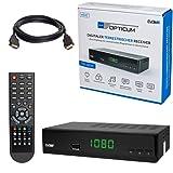 HB DIGITAL DVB-T/T2 SET: Opticum T90 HEVC DVB-T/T2 Receiver + HDMI Kabel mit Ethernet Funktion und vergoldeten Anschlüssen (Full HD, HEVC/H.265, HDTV, HDMI, SCART, USB 2.0 DVBT DVBT2 DVB-T2)
