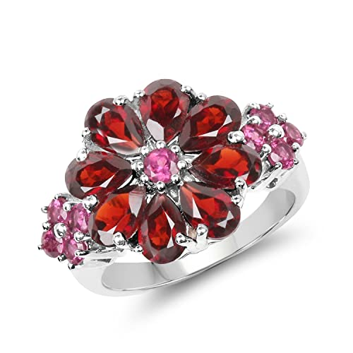 Johareez 4.37 cts Garnet Rhodolite .925 Sterling Silver Rhodium Plated Ring for Women