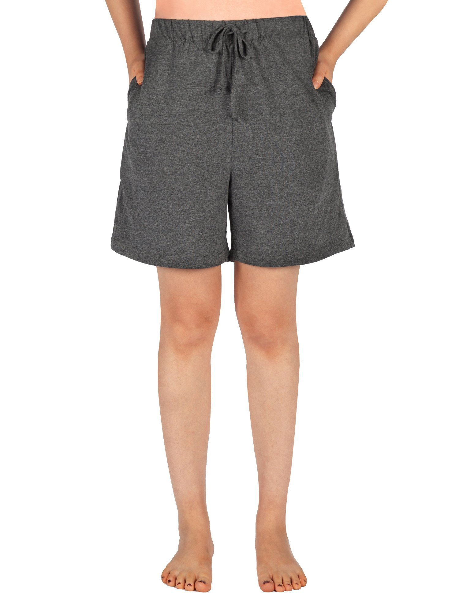 WEWINK CUKOO Women Pajamas Shorts Cotton Sleep Shorts Stretchy Lounge Shorts with Pockets (L=US 12-14, Granite Gray)