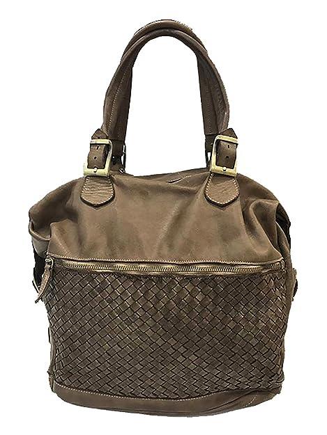 Paul.hide Borsa Minerva Sacca Shopper Donna Pelle Lavata Intrecciata Tinta  In Capo Vintage A c9024ff3585